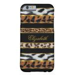 negro animal mezclado con clase elegante 3 del oro funda de iPhone 6 barely there