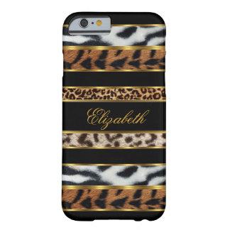 negro animal mezclado con clase elegante 3 del oro funda para iPhone 6 barely there