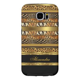 Negro animal mezclado salvaje elegante y oro fundas samsung galaxy s6