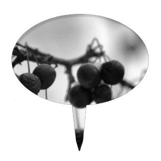 Negro + Arte blanco del invierno: Bayas Figura Para Tarta