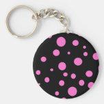 Negro atractivo con los lunares rosados llaveros personalizados