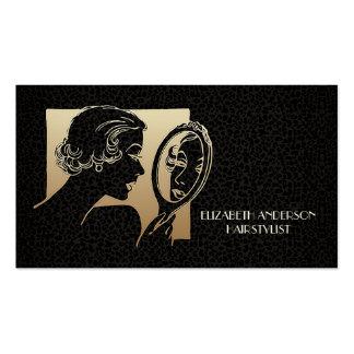 Negro atractivo del Beautician y leopardo del oro Tarjetas De Visita
