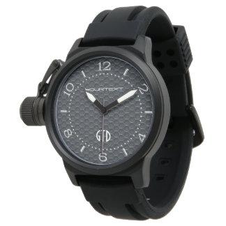 Negro automotriz industrial personalizado de las relojes de mano