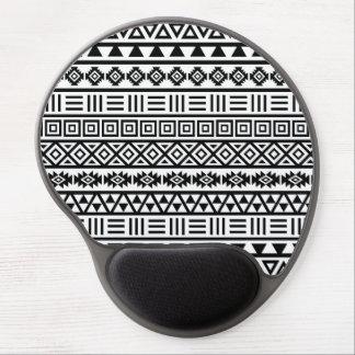 Negro azteca del modelo de la influencia en blanco alfombrillas de ratón con gel
