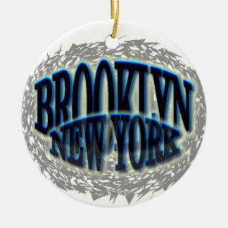 Negro azul de Brooklyn NY - Estallido-hacia fuera Adorno Navideño Redondo De Cerámica