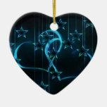 Negro azul de los amantes de la noche estrellada ornamento para arbol de navidad