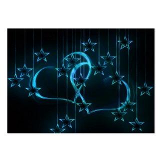 Negro azul de los amantes de la noche estrellada tarjetas de visita grandes