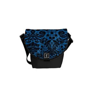 Negro azul del damasco bolsa messenger