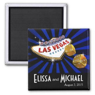 Negro azul del favor del boda de Las Vegas Starbur Imán Cuadrado