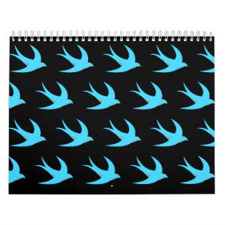 Negro azul del modelo del pájaro de vuelo calendario