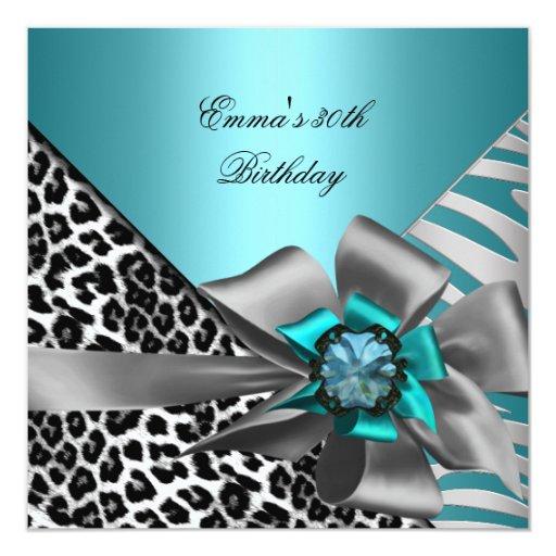Negro azul del trigésimo de la cebra de la fiesta invitaciones personalizada