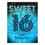 Negro azul del trullo del fiesta del dulce 16 del  invitación personalizada