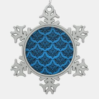 Negro azul del vintage del damasco del Flourish re Adorno De Peltre En Forma De Copo De Nieve