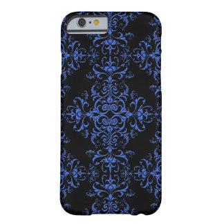 Negro azul del vintage del damasco elegante del funda de iPhone 6 barely there