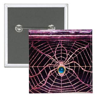 Negro azul del zafiro de la ARAÑA Y del WEB Pin Cuadrado