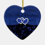 Negro, azul nuestro primer ornamento del recuerdo  ornaments para arbol de navidad