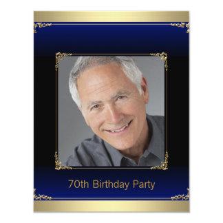 Negro azul real y 70.a fiesta de cumpleaños del invitación 10,8 x 13,9 cm