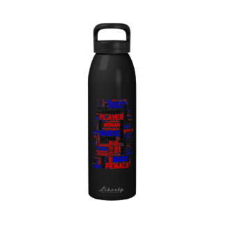 Negro azul rojo del wordle 1 femenino del bajista botellas de agua reutilizables