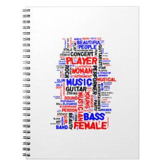 Negro azul rojo del wordle 1 femenino del bajista libreta espiral