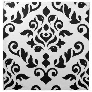 Negro barroco del diseño del damasco en blanco servilletas de papel