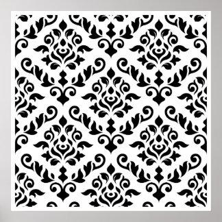 Negro barroco del modelo del damasco en blanco póster