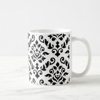 Negro barroco del modelo del damasco en blanco taza