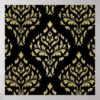 Negro barroco frondoso y oros del modelo del damas poster