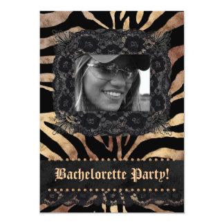 """Negro beige de la cebra del fiesta de Bachelorette Invitación 5"""" X 7"""""""