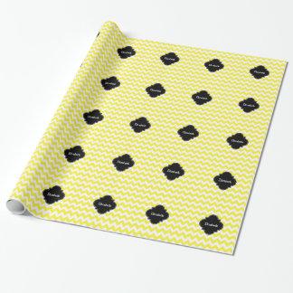 Negro blanco amarillo Quatrefoil Monagram del