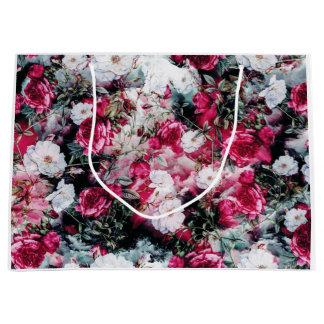 Negro blanco de color de malva rosado floral de bolsa de regalo grande