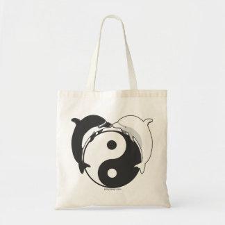 Negro/blanco de los delfínes de Yin Yang Bolsa Tela Barata