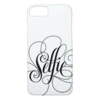 """Negro blanco de lujo de las letras de """"Selfie"""" de Funda iPhone 7"""