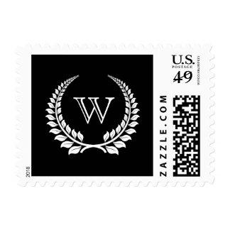 Negro/blanco del laurel del monograma sellos
