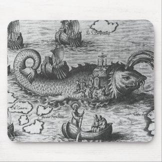 Negro/blanco del monstruo de mar/del cojín de la c mousepad