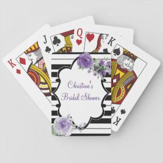 Negro, blanco, ducha nupcial de la flor cartas de juego