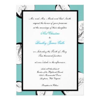 Negro, blanco e invitaciones del boda del huevo de invitacion personalizada