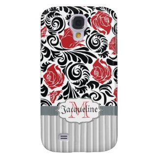 Negro, blanco, el rojo remolina espec. del iPhone  Funda Para Galaxy S4