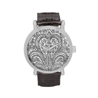 Negro + Blanco - flor + Modelo de Paisley - reloj