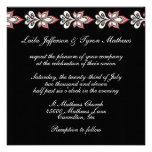 Negro/blanco/invitaciones florales del boda de Fus Anuncio Personalizado