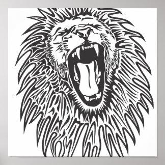 negro-blanco-león-vector póster
