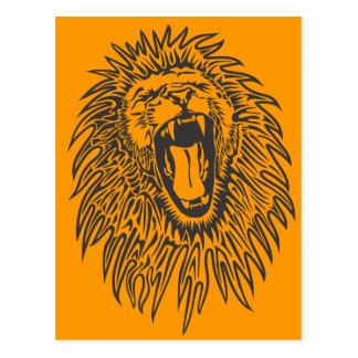 negro-blanco-león-vector postal