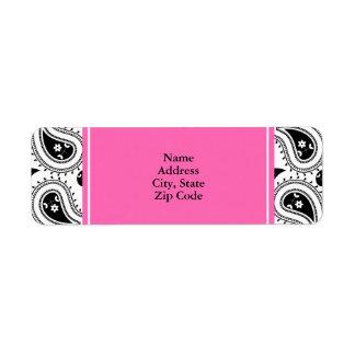 Negro, blanco, modelo de Paisley de las rosas fuer Etiquetas De Remite