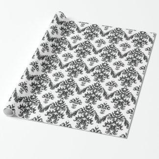 Negro blanco negro del papel de envoltorio para