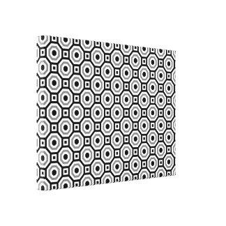 Negro/blanco/octágono jerarquizado gris envolvió impresión de lienzo