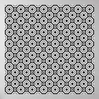 Negro/blanco/poster jerarquizado gris del octágono póster