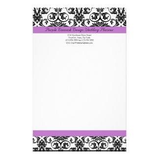 Negro/blanco púrpuras del damasco de la lavanda  papeleria de diseño