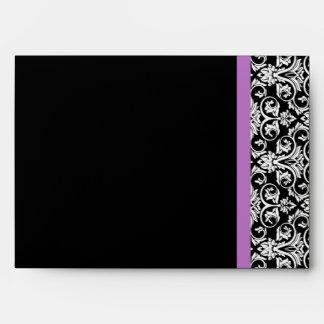 Negro/blanco púrpuras del damasco de la lavanda
