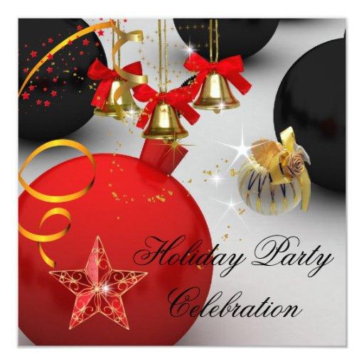 Negro blanco rojo colorido de la fiesta de Navidad Invitación 13,3 Cm X 13,3cm