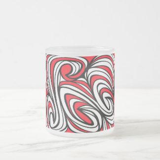 Negro blanco rojo de la expresión abstracta de taza cristal mate