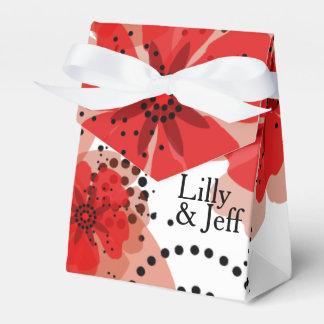 Negro blanco rojo de las amapolas el | de la caja para regalo de boda